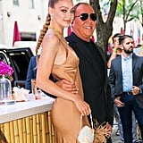Gigi Hadid Michael Kors Dress and Seashell Bag 2019