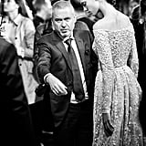 Elie Saab gives his models some last-minute directions.