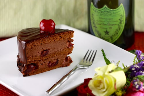Brandied Cherry Chocolate Mousse Cake