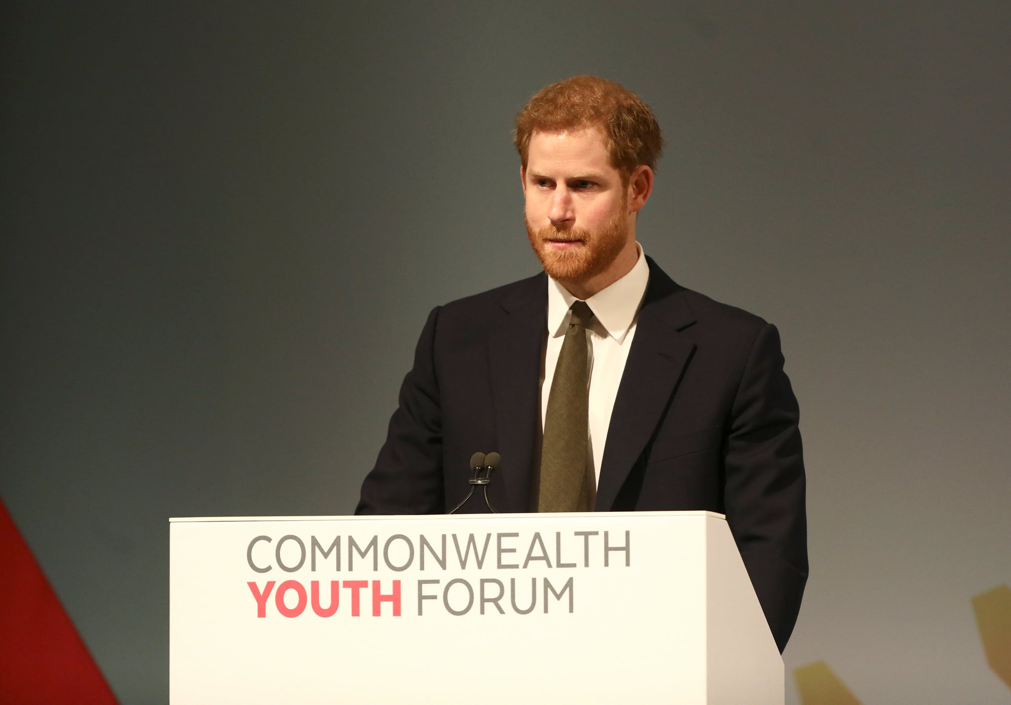 Prince Harry speaks during a Commonwealth Heads of Government Meeting (CHOGM) Youth Forum