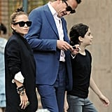 Mary-Kate Olsen walked in NYC with boyfriend Olivier Sarkozy.