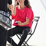 Alessandra Ambrosio had a laugh between photos.