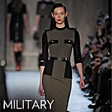 Why we love them: Military dressing carries with it a tough-girl vibe. We love the rich autumnal olive green, buttery tan, and rich black and navy fabrications of these utilitarian dresses — they speak to the season so perfectly. How to wear them: These dresses are surprisingly versatile and easy to style. Add lace-up ankle boots to complement the look, or juxtapose a military shirtdress with preppy loafers or pretty ballet flats for a wearable style you can take to work. In this photo: Victoria Beckham Fall 2012