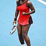 Serena Williams Wearing a Red Swoop Dress at the Medibank International in 2010