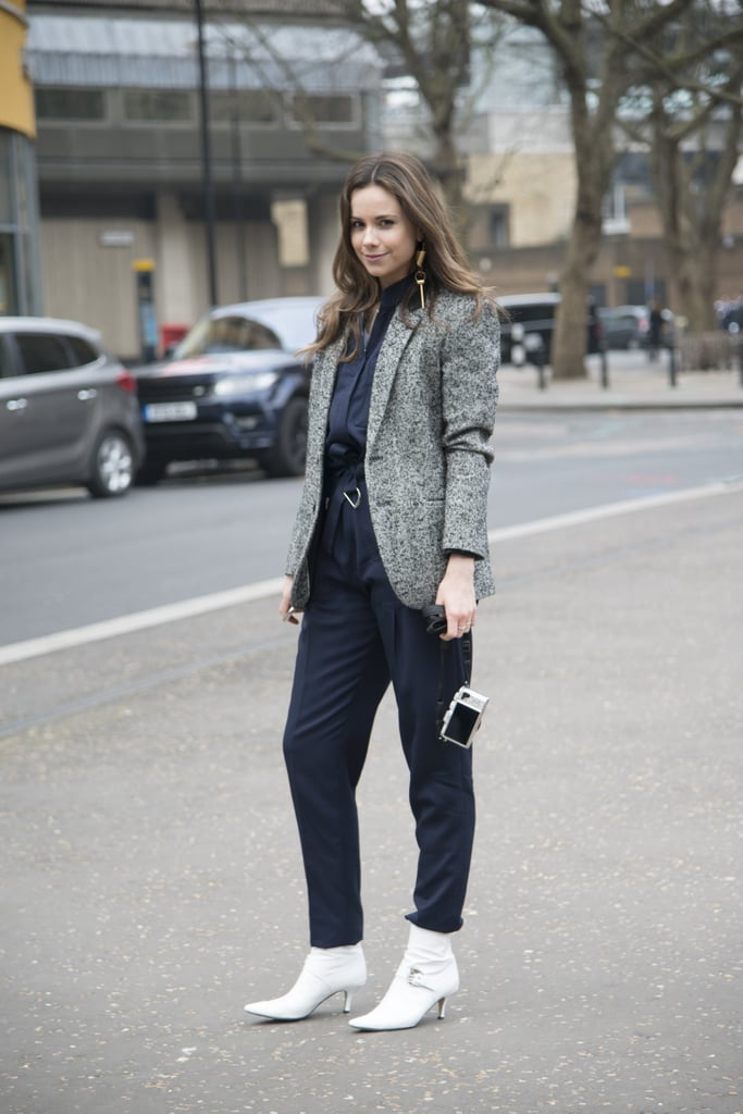 c6db14d2496b With a Navy Jumpsuit and a Grey Blazer