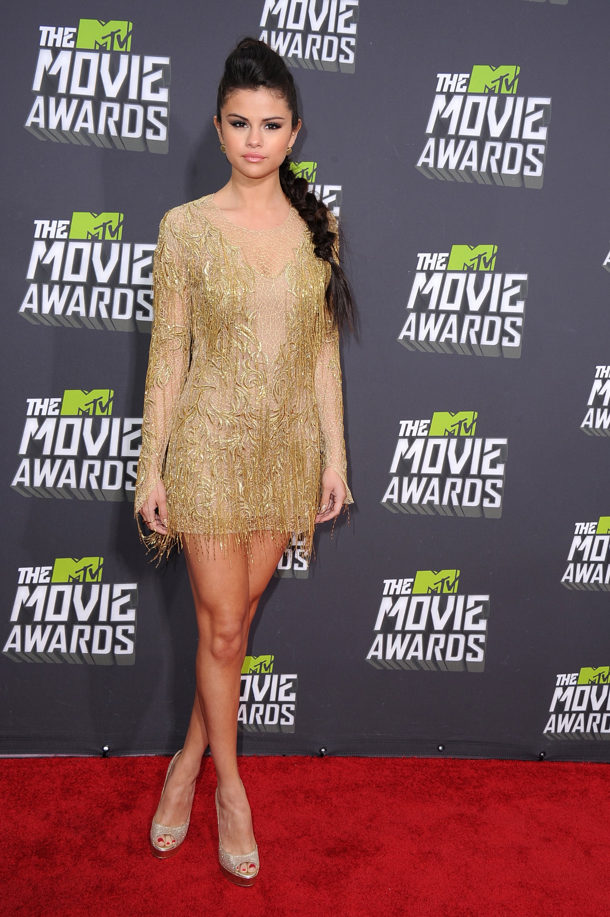 Selena Gomez struck gold in this Julien Macdonald fringed minidress at the 2013 MTV Movie Awards.