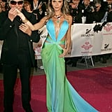 Wearing a Revealing, Colorblock Roberto Cavalli Gown