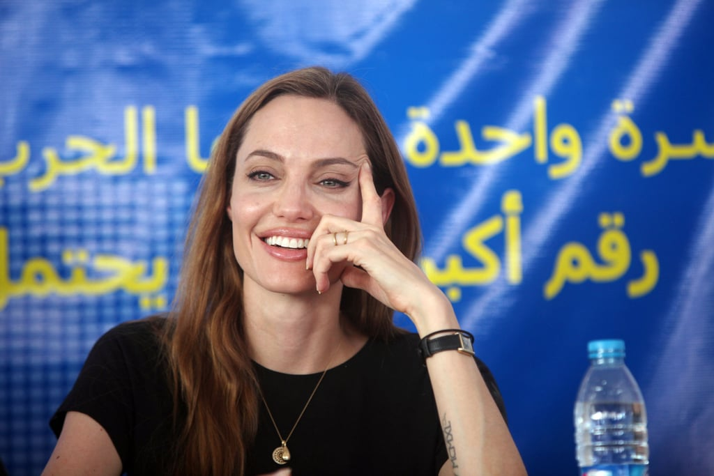 "Angelina Jolie held a press conference in Jordan today in honor of World Refugee day. On Tuesday she met with refugees along Jordan's border with Syria and according to the UN Refugee Agency, spoke with the refugees and took notes as they detailed their struggles while escaping the Syrian war. While talking with families who had lost loved ones Angie paused to comfort them, saying, ""We can't know your pain."" She later said that the purpose of the event was to draw attention to the flood of refugees coming out of war-torn Syria. Angelina also met up with the UN High Commissioner for Refugees, Antonio Guterres, and toured Jordan's Za'atari refugee camp.  Angelina Jolie's appearance in the Middle East comes hot on the heels of her trip around Europe with Brad Pitt and their children while Brad promoted his new film, World War Z, earlier this month. She walked the red carpet with Brad at his premieres in London, Paris, and Berlin, but did not join him when he left for the United States and Asia. Aside from her refugee trip, Angelina is back in the headlines again after breast cancer survivor Melissa Etheridge called her decision to get a preventative mastectomy ""fearful."" She later clarified that she didn't mean to object to Angie's decision, but she felt that it wasn't a ""brave"" decision."