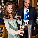 February: Kate poured a pint of beer while visiting the Empire Music Hall in Belfast, Ireland.