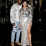 Kim and Kanye wore matching silver metallic Balmain outfits at the Met Gala in 2016.