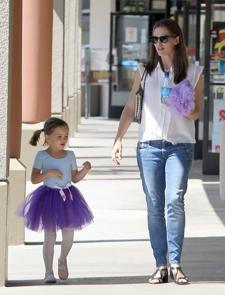 Jennifer Garner picked up her sweet ballerina Seraphina, who wore a purple tutu and pigtails, after a dance class in LA yesterday. She has been bonding with her girls all week, and on Wednesday, she was joined by Violet and Seraphina for a shopping trip in the Venice neighborhood. During the outing, Jen and Violet stopped to pet a passing dog, and the girls continued the day's fun by picking up a pizza. Seraphina is getting in quite a bit of ballet practice since her mom and Violet accompanied her to classes on Monday and Tuesday as well. Along with her girls, Jennifer got in time with her boys during a family outing over the weekend, including shopping trips with Ben Affleck and their kids and a journey to the Natural History Museum. Jennifer is currently taking a break from filming her latest movie, Imagine, in Southern California.  Jennifer and the rest of her family may have some familiar faces to hang out with very soon as Matt Damon revealed that he is moving his family from NYC to LA this month. The move, Matt said, is happening so he can focus on his production company with Ben.