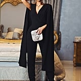 Shein Cape-Sleeve Surplice Wrap Tailored Jumpsuit
