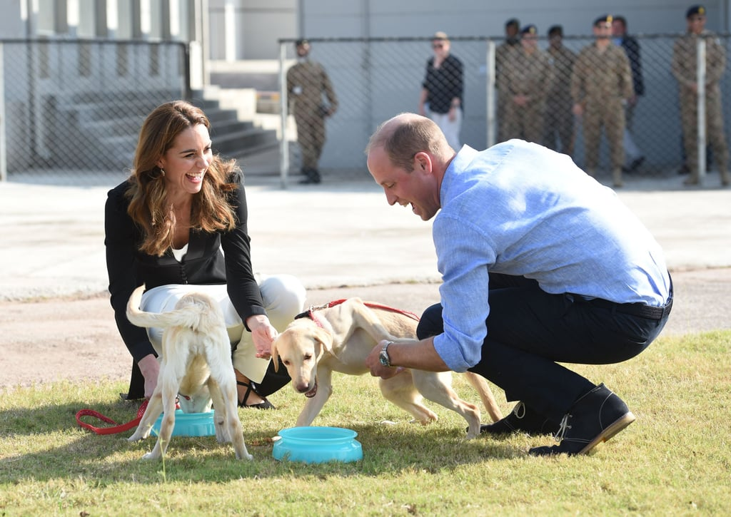 Prince William and Kate Middleton's royal tour of Pakistan has officially come to an end. The five-day trip kicked off on Monday, and the pair were very busy. They were all smiles as they touched down at Pakistani Air Force Base Nur Khan in Rawalpindi, Pakistan, on Monday afternoon. Will looked dapper in a navy suit, while Kate donned a gorgeous blue ombré dress and matching pants as she happily accepted flowers from two young royal admirers. Since their first appearance on the tarmac, it has become very clear that the royal pair have taken fashion cues from the location, with a wardrobe that combines tradition with modernity. On Tuesday evening, they arrived at the Pakistan Monument in Islamabad wearing complementary green ensembles — the duke in a sherwani (a traditional coat-like garment), and Kate in a gorgeous, embellished, floor-length gown by British designer Jenny Packham.  During a visit to the mountains on Wednesday, they donned headdresses as they enjoyed a celebration by the Kalash people who live in the area. On Thursday, Kate and William visited the SOS Children's village, then the duchess was all smiles while playing a friendly round of cricket in Lahore at the National Cricket Academy. William and Kate concluded their tour on Friday by visiting the Army Canine Centre, where they played with a bunch of adorable dogs.  During the five-day trip, the duke and duchess of Cambridge made various appearances in Islamabad, Lahore, the Western border, and the mountains in the North. Though their three children, Prince George, Princess Charlotte, and Prince Louis, sat this trip out, William and Kate shared plenty of sweet moments together. Keep reading for more pictures from their tour, and get the details on all of Kate's looks.  — Additional reporting by Ange Law