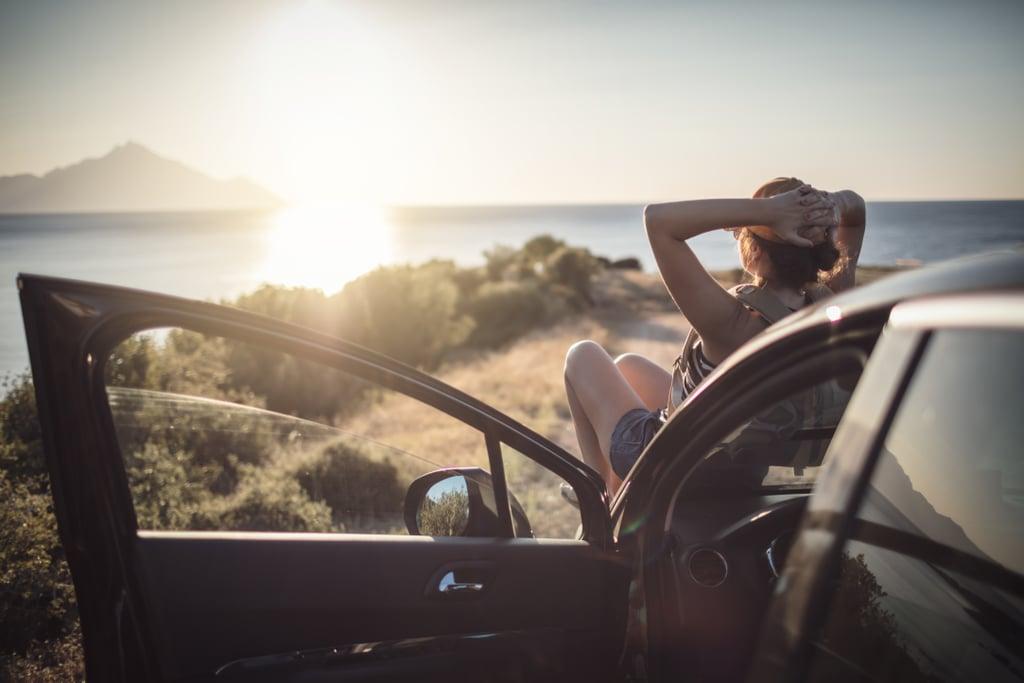 Watch the sun set on the hood of a car.