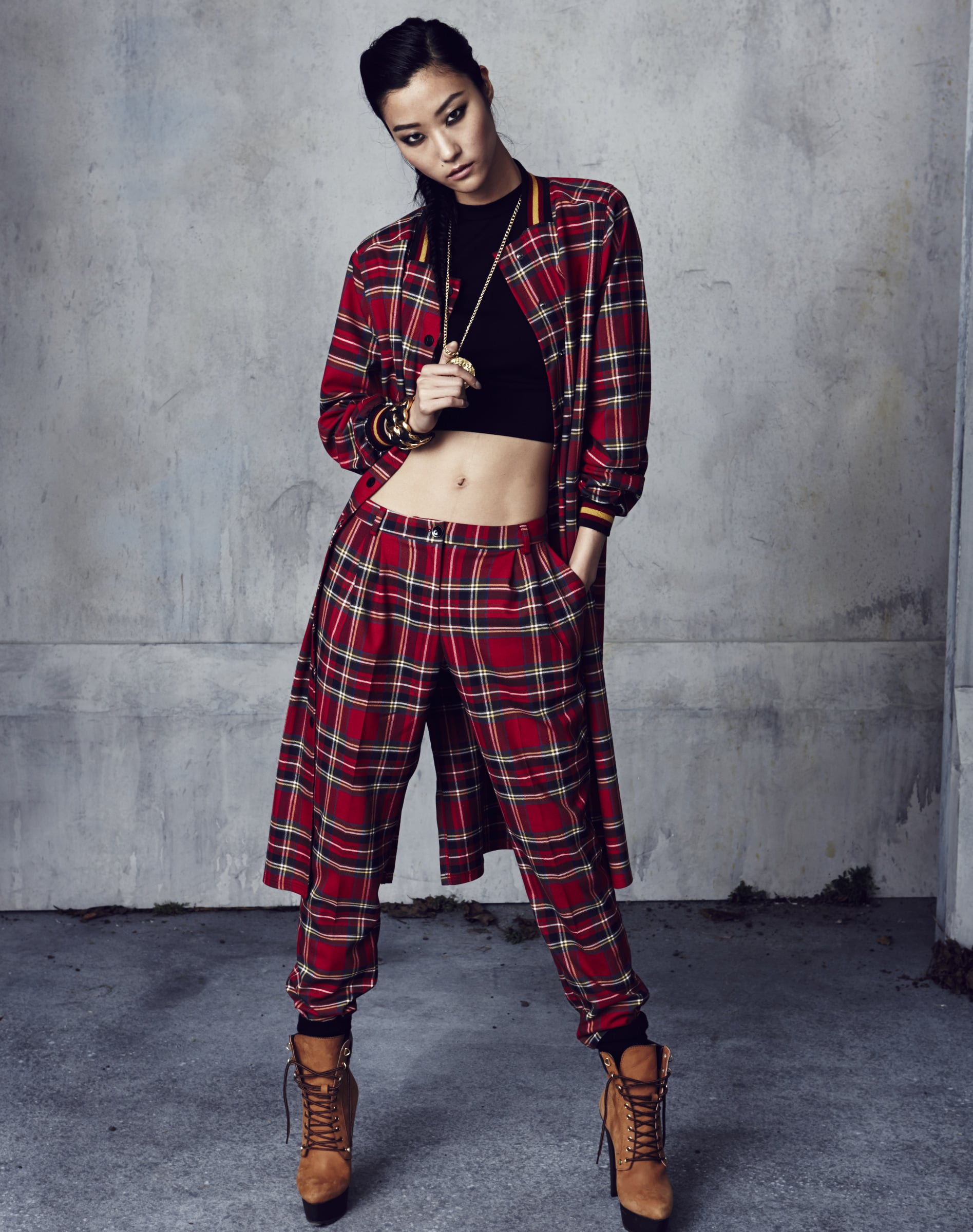 This red tartan pattern is a key fabric in the collection. Photo courtesy of River Island