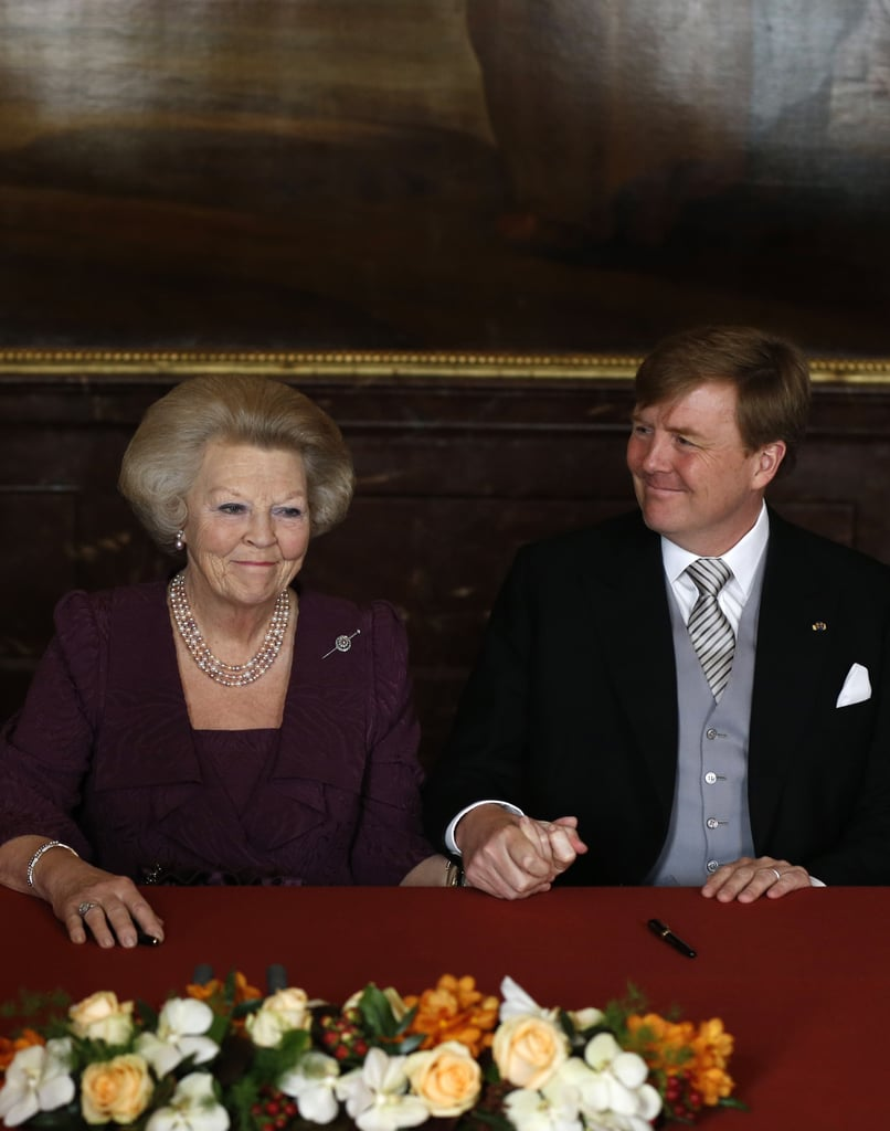Beatrix held hands with her son, the new Dutch king.