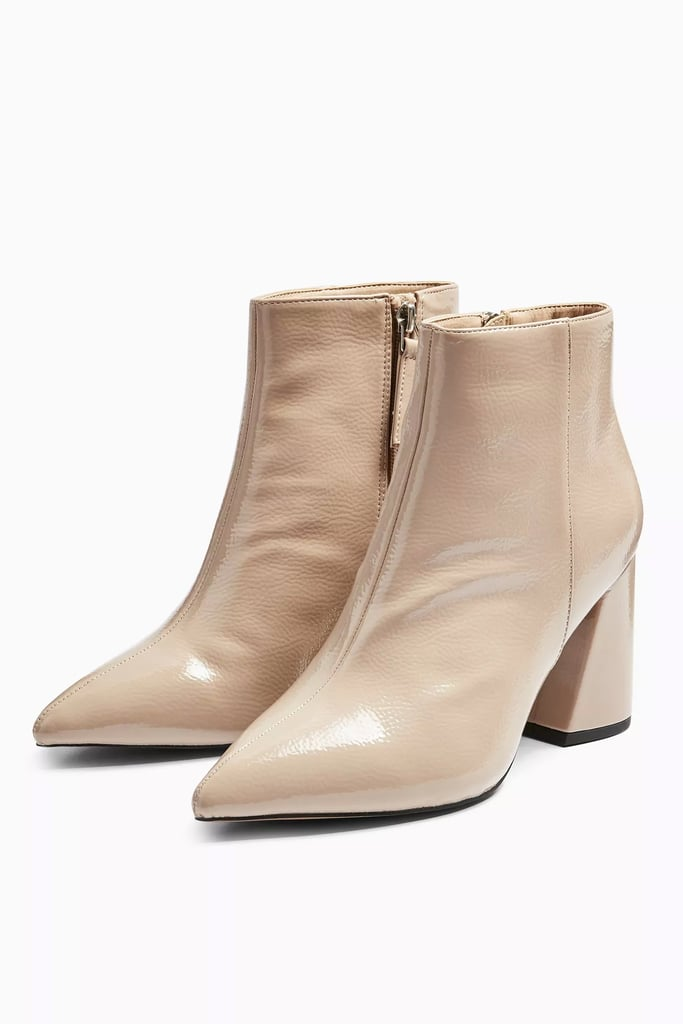 Topshop Hackney Taupe Pointy Patent Boots