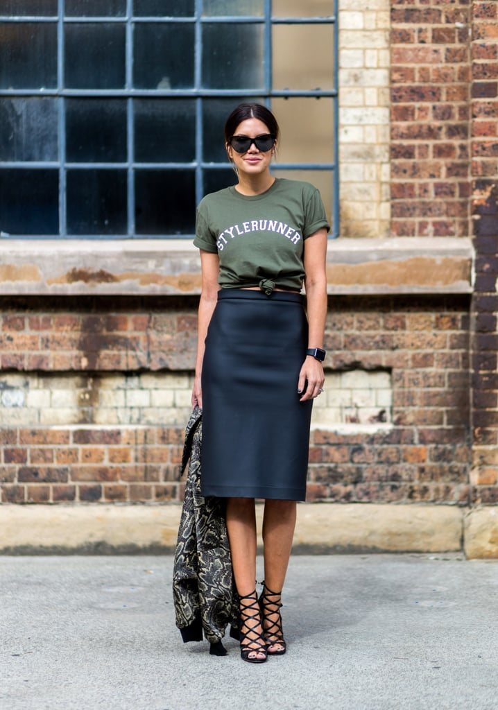 A pencil skirt and tee with statement sandals