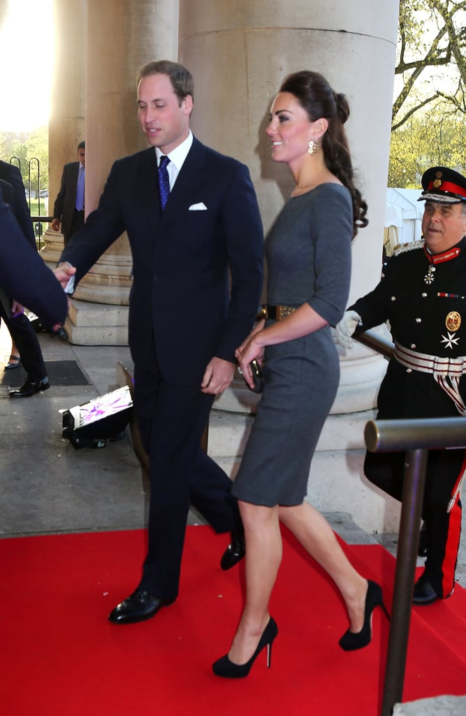 Prince William and Kate Middleton continued their busy week with a royal appearance at the Imperial War Museum in London yesterday. They attended a reception to launch the museum foundation's First World War Galleries with Kate donning a grey Amanda Wakeley dress for the occasion. It was Kate and Will's second outing of the day after honouring the Scott-Amundsen Centenary Race to the South Pole at another reception in the morning. Kate wore a blue Rebecca Taylor look for the occasion, while Will suited up with a striped tie. The couple, who will celebrate their first wedding anniversary on Sunday, kicked off the string of events on Wednesday when they stepped out for the premiere of African Cats.