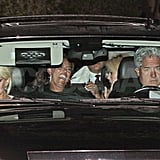 Lindsay Lohan leaves Kim Kardashian's wedding.