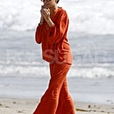 Nicole Richie wore an all-orange ensemble for a family day at the beach in Malibu.