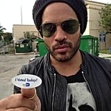 Lenny Kravitz got his sticker after placing his vote on election Tuesday. Source: Twitter user LennyKravitz