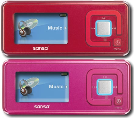 SanDisk's Sansa Turns Pink And Red