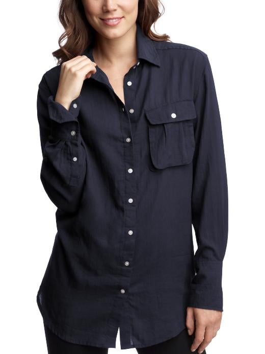 I'm really into oversized boyfriend shirts that are lightweight, and this Gap Single-Pocket Boyfriend Shirt ($20, originally $60) has that look.