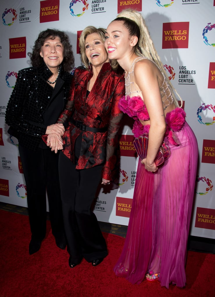 "Miley Cyrus turned heads when she arrived at the Los Angeles LGBT Center's 46th Anniversary Gala Vanguard Awards, an event that honors gay rights activists, in LA on Saturday. Miley posed for photos alongside Lily Tomlin and honoree Jane Fonda before taking the stage inside to accept the vanguard award for her nonprofit organization, the Happy Hippy Foundation. At one point, Miley even licked a piano donated by Ruby Rose to help auction it off. Miley has been a gay rights activist for quite some time now. She has an equal sign tattooed on her finger, and in an article she wrote for Glamour, she explained, ""I believe every American should be allowed the same rights and civil liberties."" Take a look at Miley's latest appearance, and then check out even more celebrities who support marriage equality."