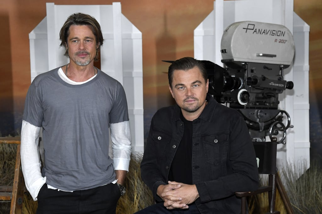 Brad Pitt Photobombing Margot Robbie and Leonardo DiCaprio