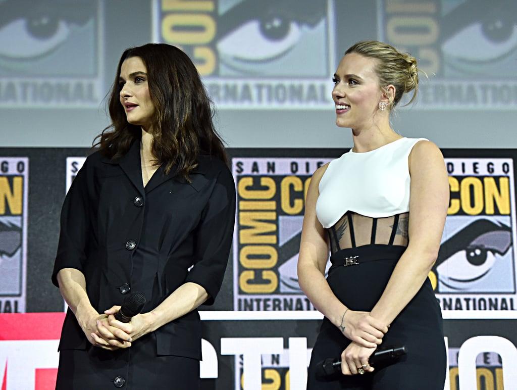Pictured: Rachel Weisz and Scarlett Johansson at San Diego Comic-Con.