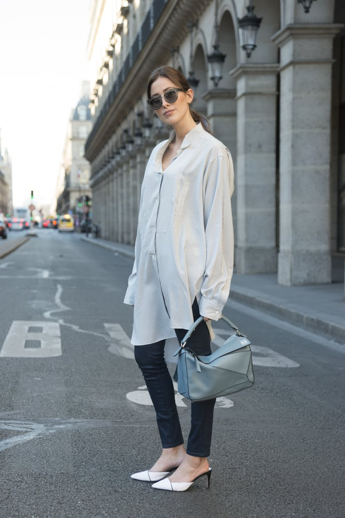 An Oversize Silk Top Feels More Sophisticated With Leggings and Mules