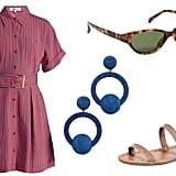 Diane von Furstenberg Striped Patch Pocket Shirtdress ($428). Linda Farrow Luxe Acetate Cat Eye Sunglasses ($538). Rebecca de Ravenel Hoop La La Earrings ($345). Carrie Forbes Kadar Sandals ($305).