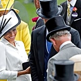 Meghan looked thrilled to see her father-in-law at the Royal Ascot in June 2018.