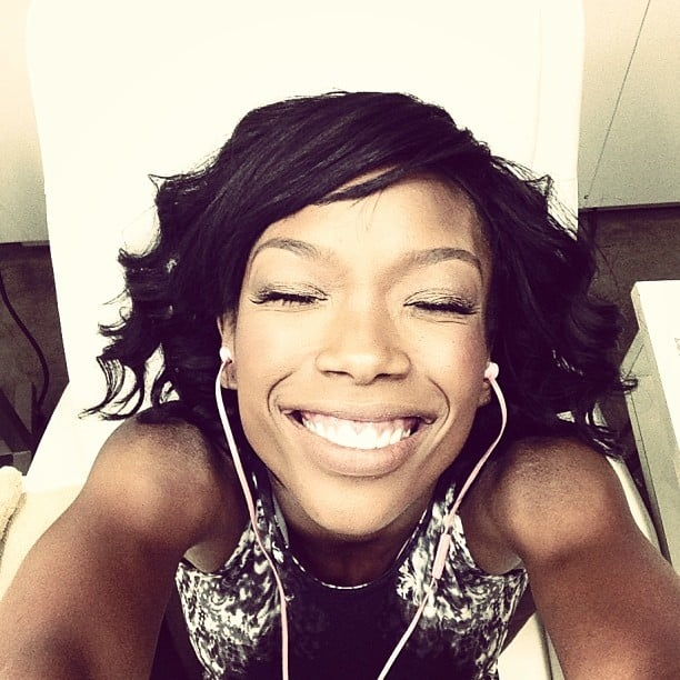 Brandy snapped a smiley selfie while getting a pedicure. Source: Instagram user 4everbrandy