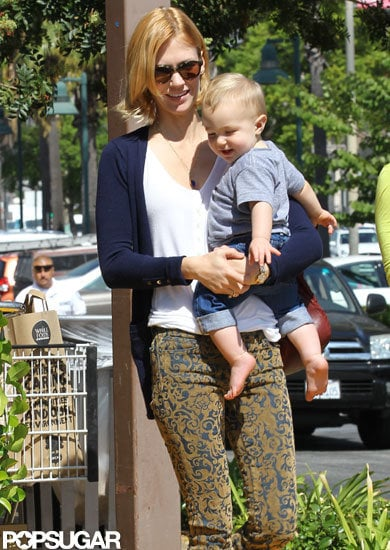 January Jones held Xander for a trip to Whole Foods.