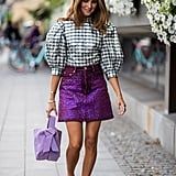 Style a Sparkly Skirt With a Statement Blouse