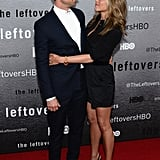 Jennifer Aniston and Justin Theroux shared a sweet moment at The Leftovers premiere in NYC on Monday.