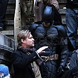 Tom Hardy as Bane and Christian Bale as Batman on the set of The Dark Knight Rises.