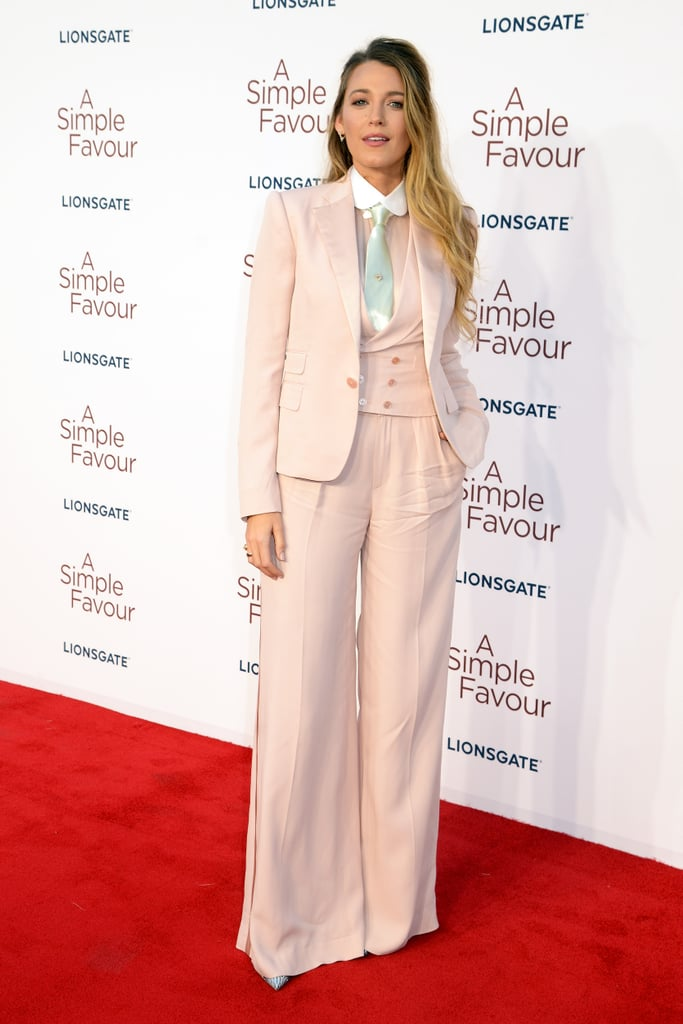 Blake Lively Wearing a Pair of Wide-Leg Pink Pants