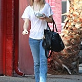 Rachel McAdams wore a white tee-shirt and jeans for a day out in LA.