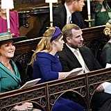 The Duchess of York was seated next to her daughter, maid of honour Princess Beatrice of York. Next to Princess Beatrice in the front row is her and Eugenie's cousin, Peter Phillips, the Queen's oldest grandson and the son of Anne, Princess Royal, and his wife Autumn.