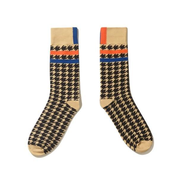 Kule The Women's Houndstooth Socks in Cream/Brown