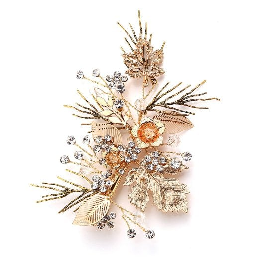 Faybox Vintage Gold Twig Hair Clips Bridal Headpiece Wedding Accessories ($19)