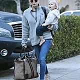 Kate Hudson and her son Bingham Bellamy spent the day with family in LA's Brentwood neighborhood on Saturday.