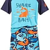 Rash Guard and Shark-Print Swim Trunks Set