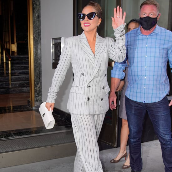 Lady Gaga's Pinstripe Jean Paul Gaultier Suit and Platforms