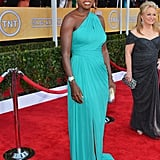 Viola Davis wowed in a turquoise Monique Lhuillier gown, which she paired with Jimmy Choo sandals and Cathy Waterman jewels.