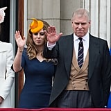 Pictured: Kate Middleton, Princess Beatrice, Prince Andrew, Autumn Phillips.