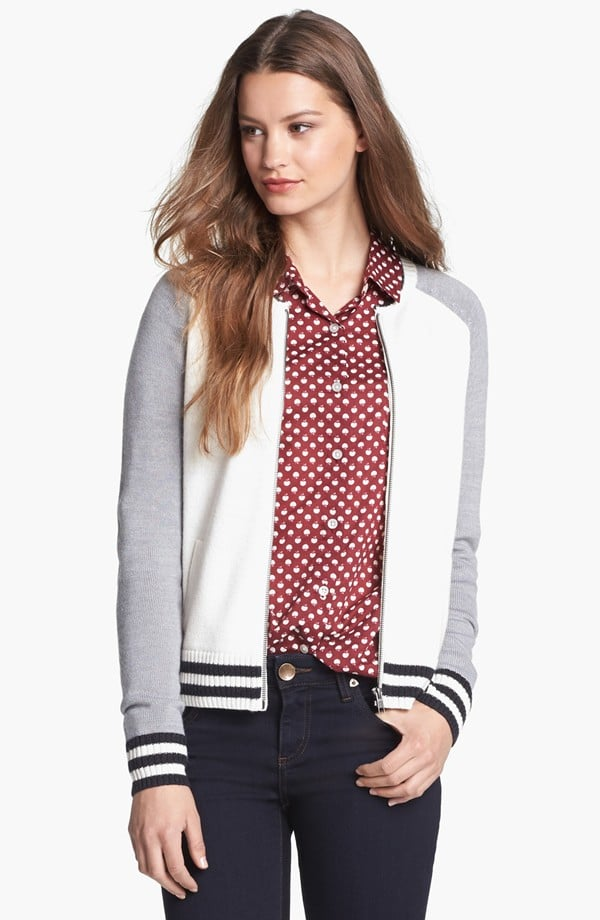 Halogen letterman jacket ($50, originally $78) and wear it in place of a cardigan.